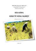 Bài giảng Kinh tế nông nghiệp