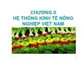 Nông nghiệp - Chương II: Hệ thống kinh tế nông nghiệp Việt Nam