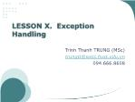 Object Oriented Programming - Lesson 10: Exception Handling - Trinh Thanh Trung