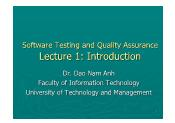 Software Testing and Quality Assurance - Lecture 1: Introduction - Đào Nam Anh