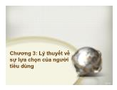 Bài giảng Kinh tế học đại cương - Chương 3: Lý thuyết về sự lựa chọn của người tiêu dùng - Trương Thị Hòa