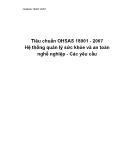 Tiêu chuẩn OHSAS 18001 - 2007 Hệ thống quản lý sức khỏe và an toàn nghề nghiệp - Các yêu cầu