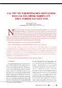 Các yếu tố ảnh hưởng đến chất lượng báo cáo tài chính: Nghiên cứu thực nghiệm tại Việt Nam