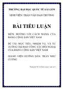 Tiểu luận Mục tiêu, nhiệm vụ, và tư tưởng chỉ đạo công tác đối ngoại của Đảng Cộng sản Việt Nam